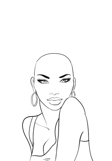How-to-draw-afro-hair-in-fashion-design-sketches-step-1