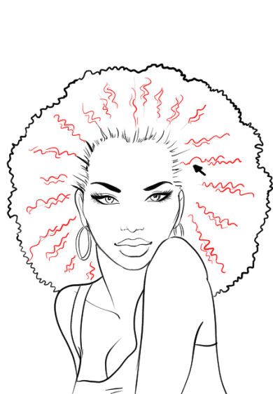 How-to-draw-afro-hair-in-fashion-design-sketches-step-5
