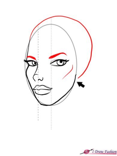 How to draw 3-4 view face in fashion design sketches step 7