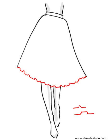How to draw a tutu skirt in fashion sketches step by step