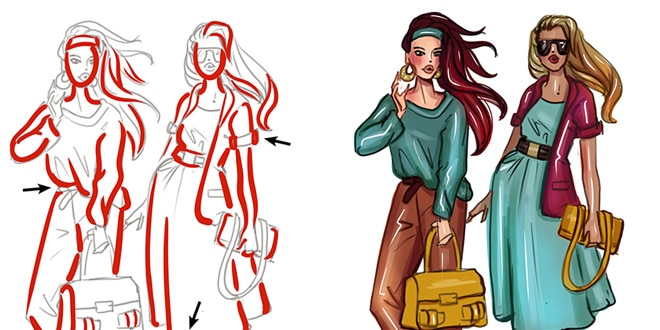 How to color - a beginners guide to coloring fashion sketches