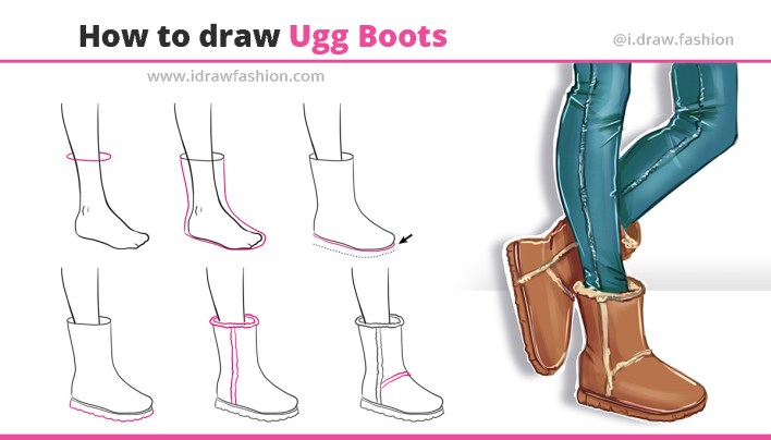 How to draw ugg boots 8