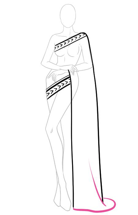 How to draw a saree 3