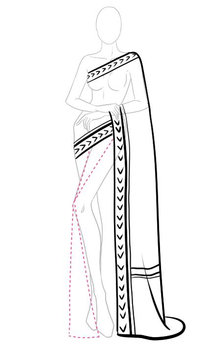 How to draw a saree 6