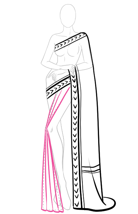 How To Draw Saree In 12 Easy Steps I Draw Fashion