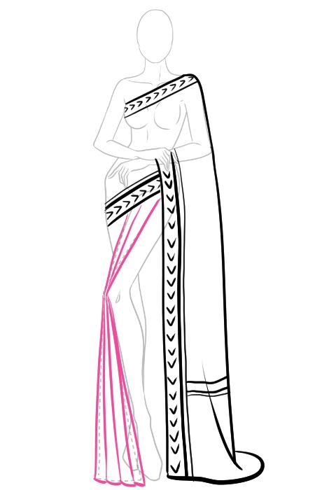 How to draw a saree 7