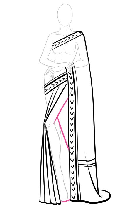 How to draw a saree 8