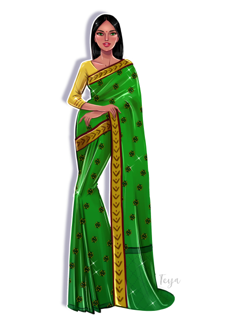 How to draw a saree 12