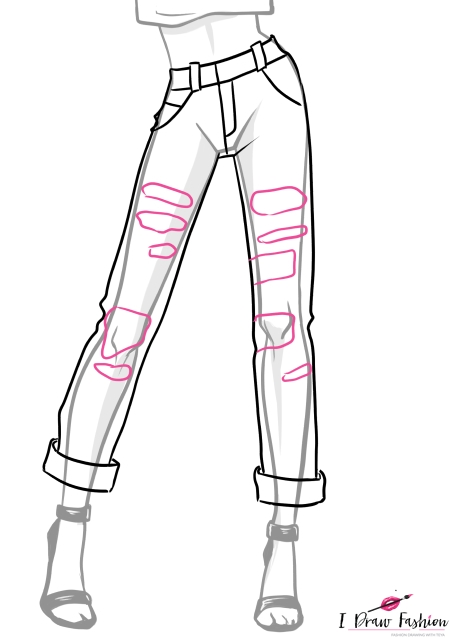 how to draw ripped jeans holes