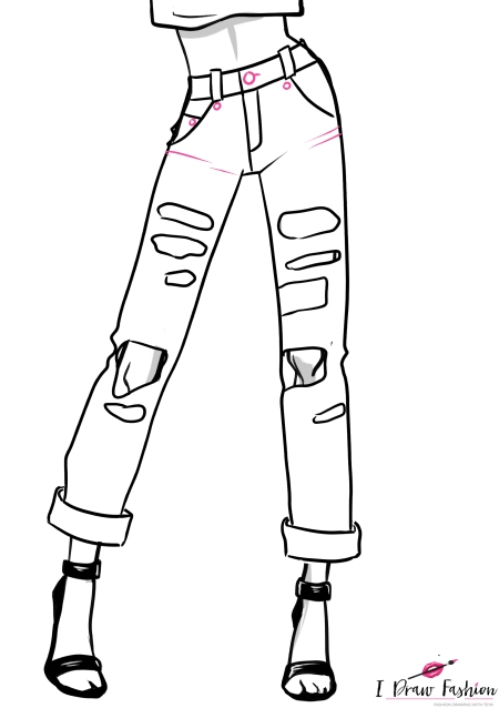 How to draw Ripped Jeans 4