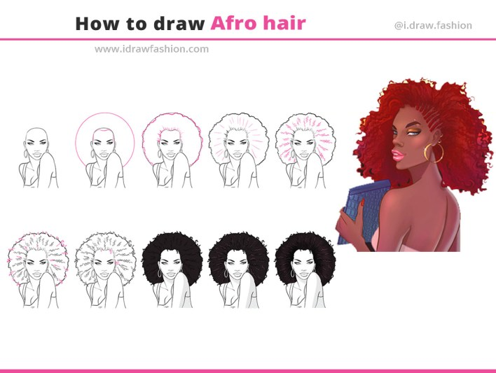 How to draw afro hair 1