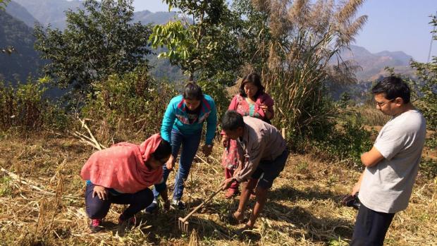 Working with farmers in Jogimara, Nepal.