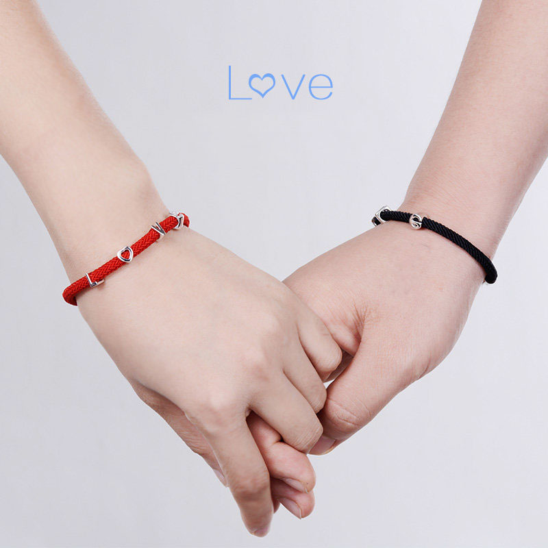 Blue Sweet Couple Bracelets Red Rope And Love Charm