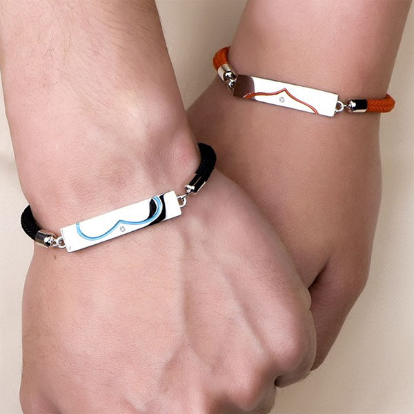 Blue Sweet Couple Bracelets Black Red Rope Sterling