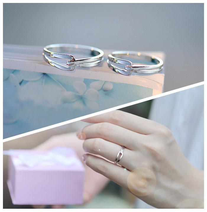 Interlocking Couple Promise Rings Set For Women And Men