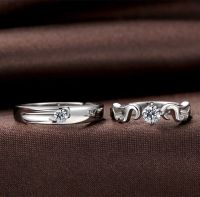 Angel Wing + Crown Couple Rings Set for Women and Men, 925 ...