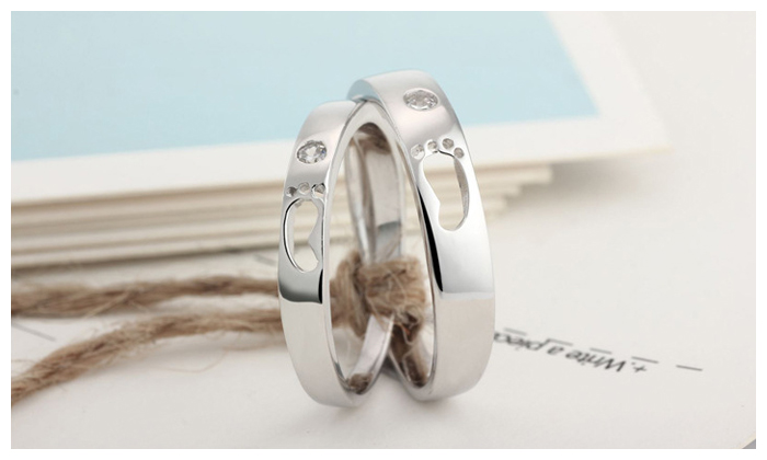 Footprint Promise Rings For Couples Sterling Silver Cute