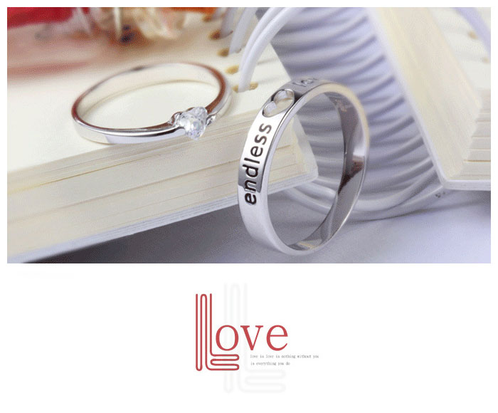 Promise Rings For Couples Heart Shaped CZ Diamond