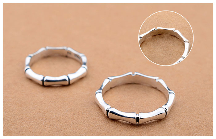 Bamboo Promise Ring For Women And Men Personalized 925