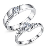 Cubic Zirconia Diamond Eternity Promise Rings for Couples ...