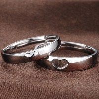 Adjustable Domed Heart Promise Rings for Couples ...
