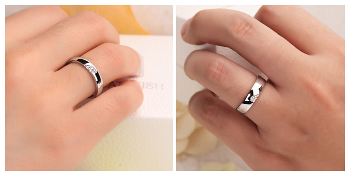 CZ Diamond Accents Two Half Hearts Puzzle Promise Rings