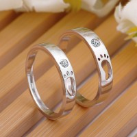 Footprint Promise Rings for Couples, Sterling Silver Cute ...