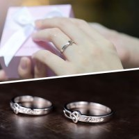 Heart Knot + Love Engraved Promise Rings for Couples, Cute ...