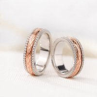 Silver Age Couples Rings, Rose Gold Spinner Wedding Bands ...