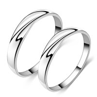 Simple Wave Promise Rings for Couples, Personalized ...