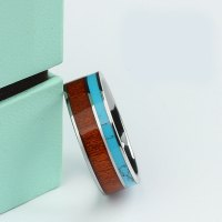 Koa Wood and Turquoise Inlaid Tungsten Wedding Bands ...