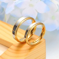Two-Tone Tungsten Wedding Bands Set, Step-Edge Gold ...
