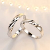 Simple Wave Promise Rings Set for Women and Men, 925 ...