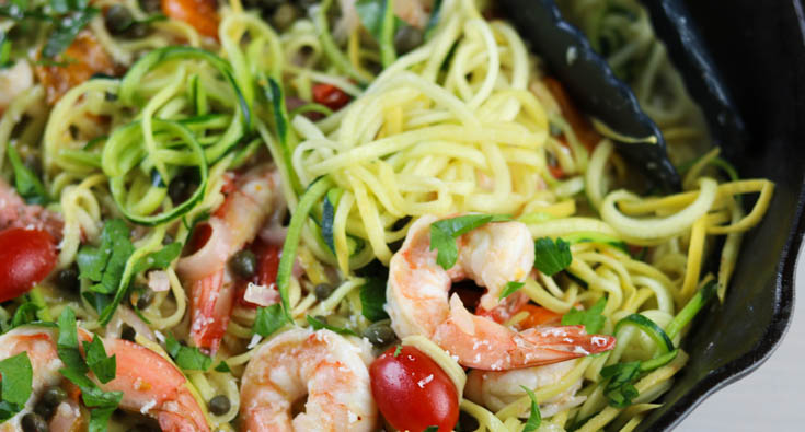 Shrimp Zoodles with a White Wine Sauce