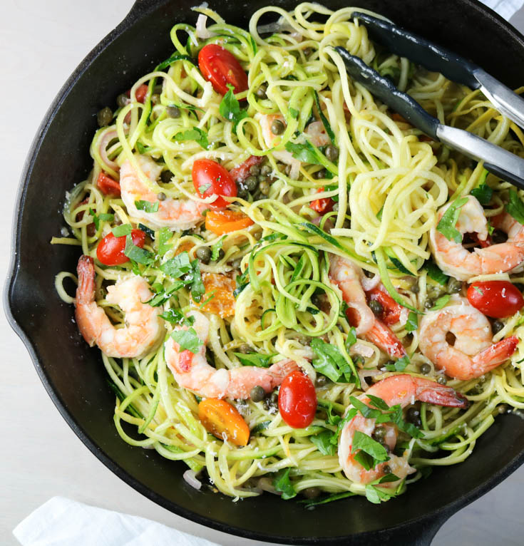 Shrimp Zoodles with White Wine Sauce