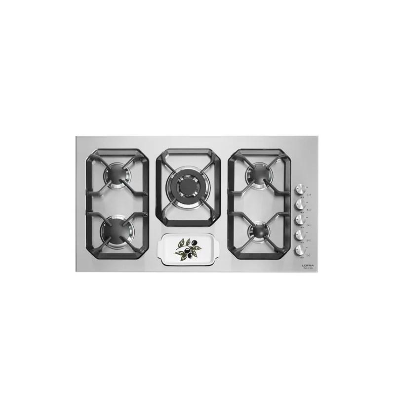 Piano Cottura Gas Con 5 Fuochi E Porta Posate Hls9u0 Sole 90