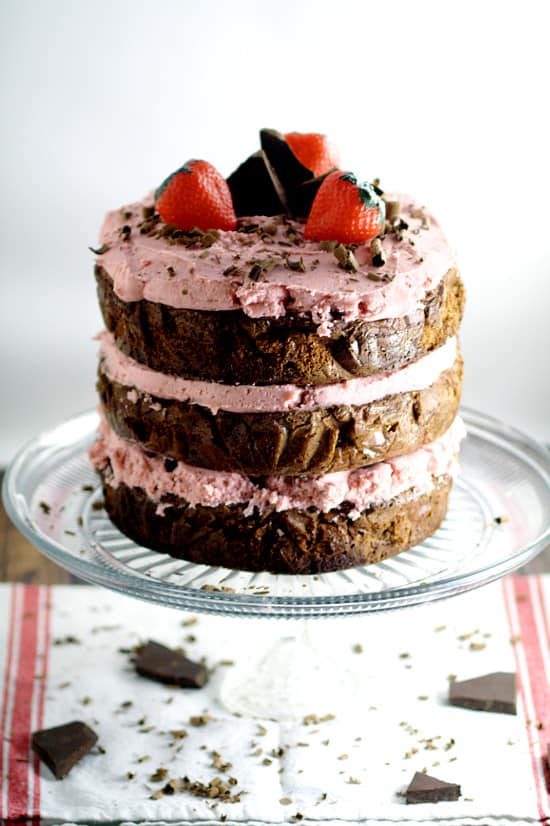 Dark Chocolate Cake with Strawberry Buttercream and other strawberry recipes at www.idyllicpursuit.com