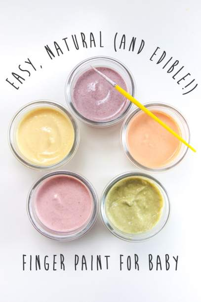 Easy, Natural, and Edible Finger Paint for Baby and other messy activities at idyllicpursuit.com