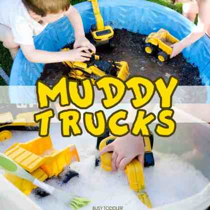 Muddy Trucks and other messy toddler activities at idyllicpursuit.com