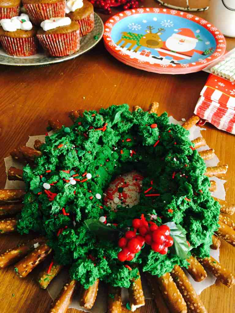 Chocolate and pretzel Christmas wreath at our Christmas party