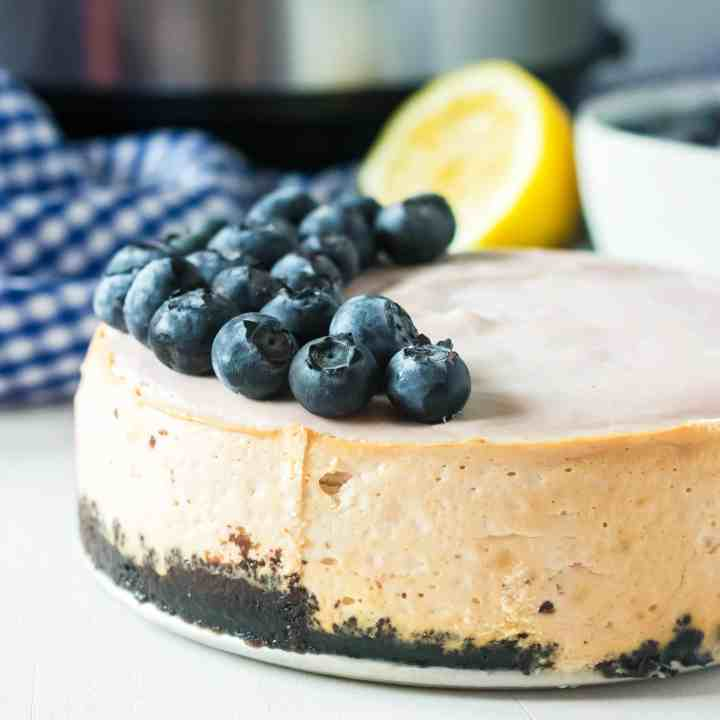 A blueberry cheesecake made in the instant pot