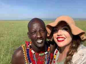 Taking selfies with a Maasai tribe member at the hot air balloon