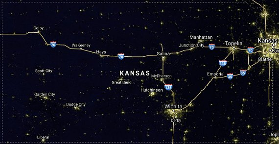 A NOAA National Geophysical Data Center image of light pollution taken in 2019.