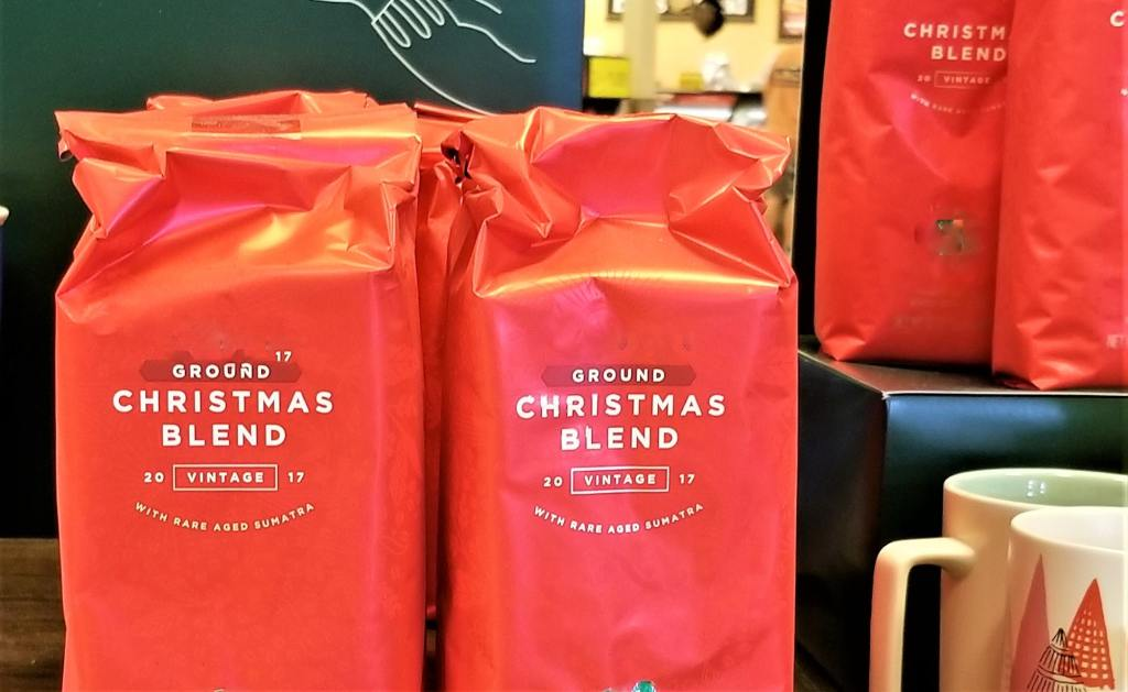 RED Bags of Christmas Blend Ground Coffee for Sale at the Coffee Stand!