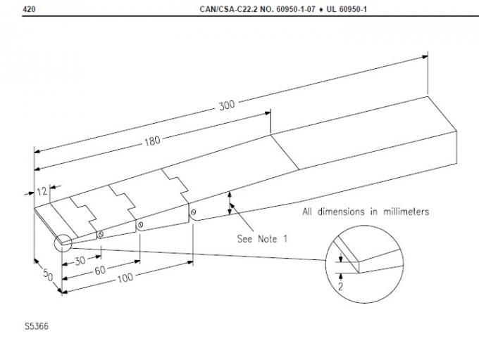 Wedge Test Finger Probe for Testing Document Shredders IEC