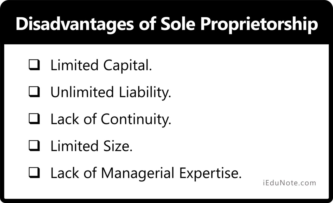 Disadvantages of Sole Proprietorship - Sole Proprietorship Comes with its Limitations