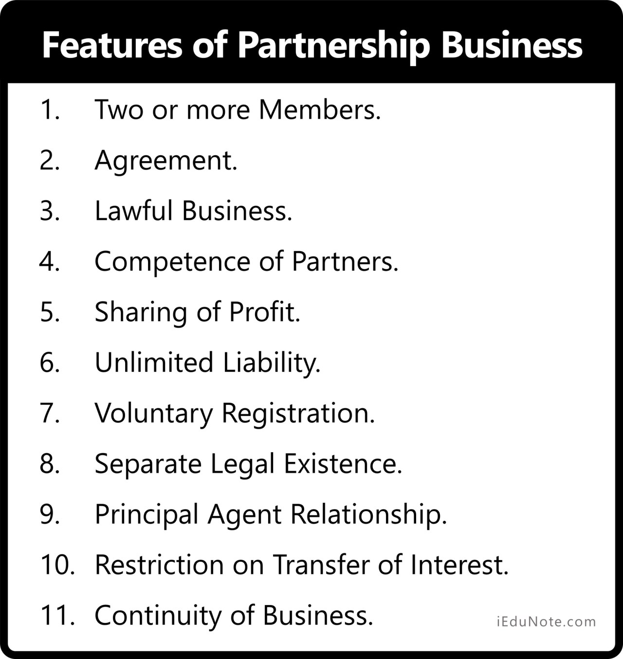 Features of Partnership Form of Business Organization