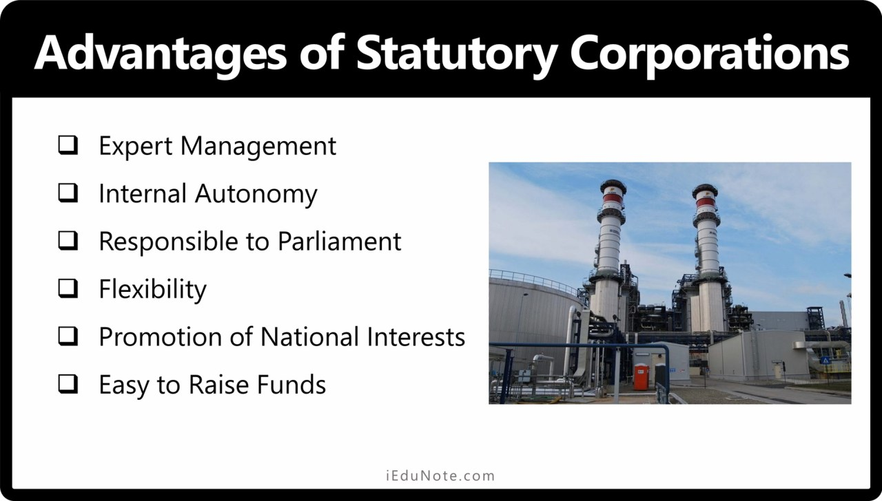 Advantages of Statutory Corporations