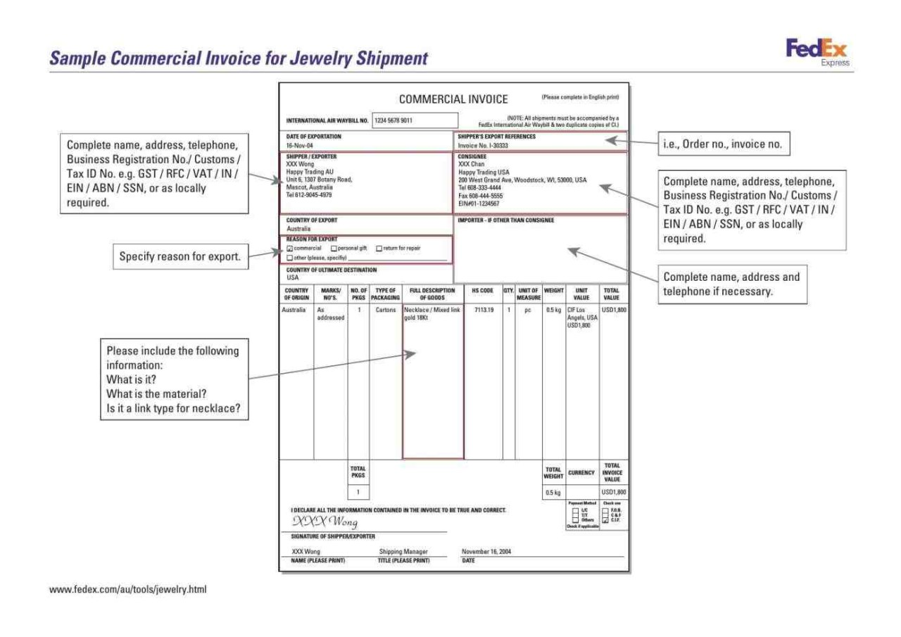 commercial invoice example format template