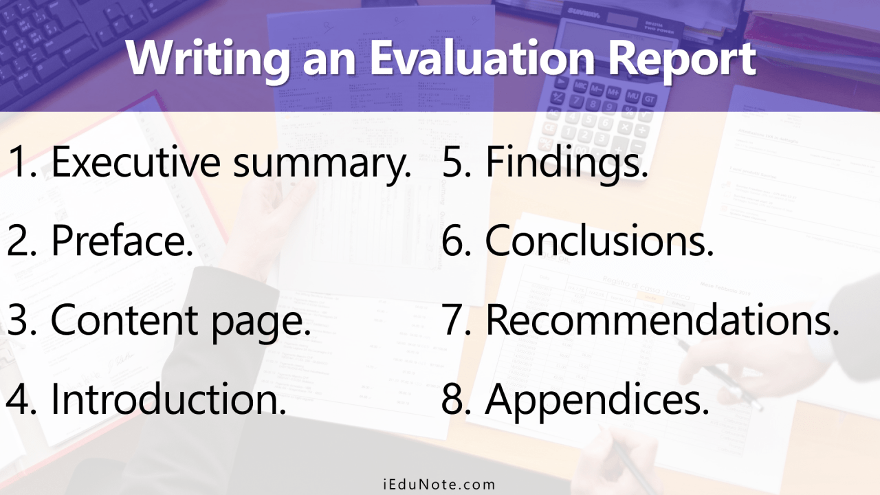 Components of an evaluation report